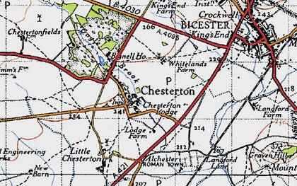 Old map of Alchester (Roman Town) in 1946