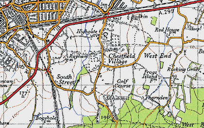 Old map of Chestfield in 1947