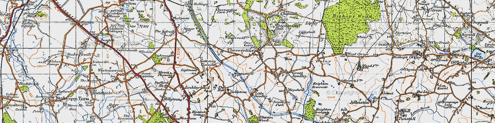 Old map of Cheswardine in 1946