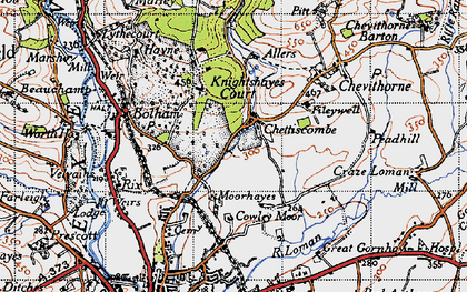 Old map of Chettiscombe in 1946