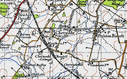 Old map of Chetwode in 1946