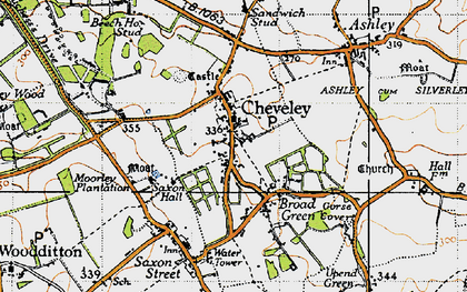 Old map of Cheveley in 1946