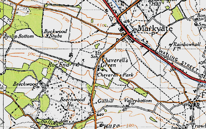 Old map of Cheverell's Green in 1946