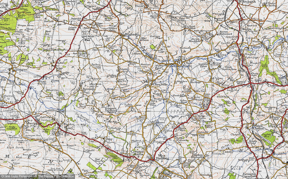 Old Map of Historic Map covering Woodford Hill in 1946