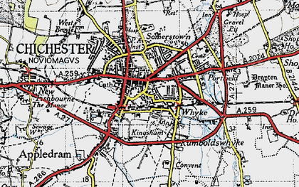 Old map of Chichester in 1945