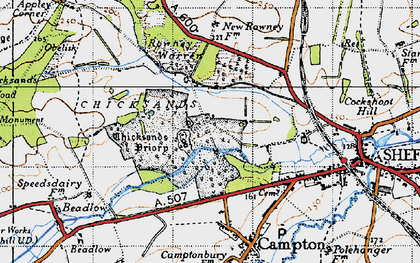 Old map of Chicksands in 1946