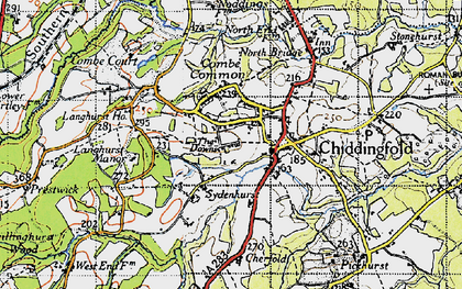 Old map of Chiddingfold in 1940