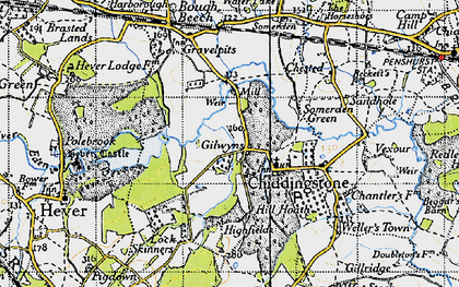 Old map of Chiddingstone in 1946