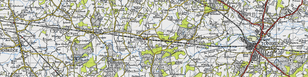 Old map of Chiddingstone Causeway in 1946