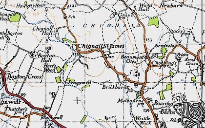 Old map of Chignall St James in 1946