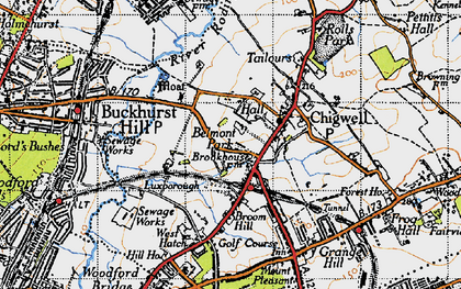 Old map of Chigwell in 1946