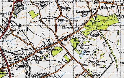 Old map of Chigwell Row in 1946