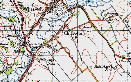 Old map of Chilbolton in 1945