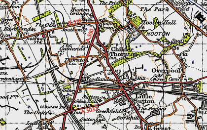 Old map of Childer Thornton in 1947