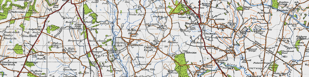 Old map of Childs Ercall in 1947