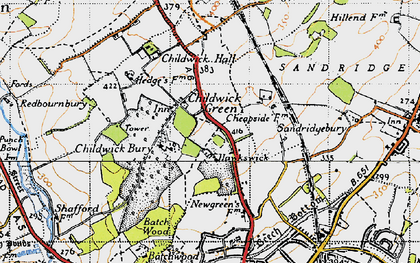 Old map of Childwick Green in 1946