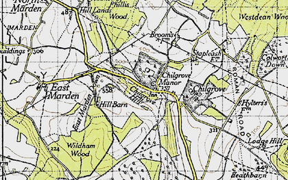 Old map of Westdean Woods in 1945