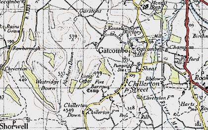 Old map of Westridge Down in 1945