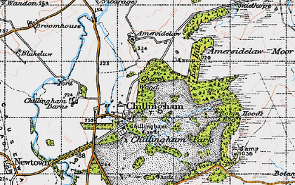 Old map of Chillingham in 1947