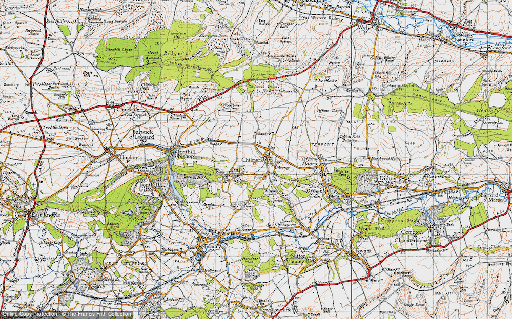 Old Map of Historic Map covering Stockton Wood in 1940