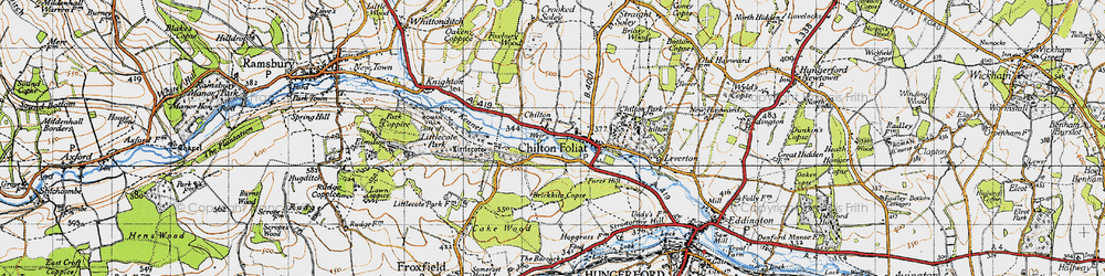 Old map of Chilton Foliat in 1945