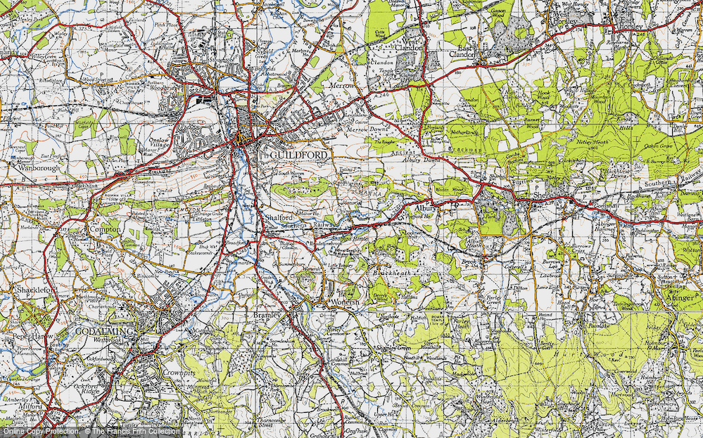 Old Map of Historic Map covering Wonersh Common in 1940