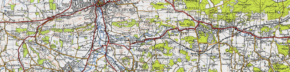 Old map of Wonersh Common in 1940