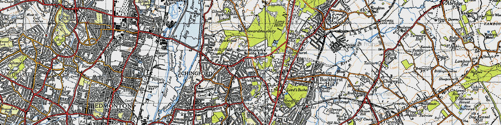 Old map of Chingford in 1946
