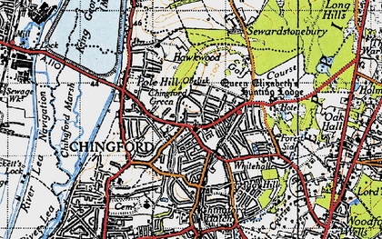 Old map of Chingford Green in 1946