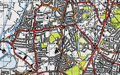 Old map of Chingford Hatch in 1946
