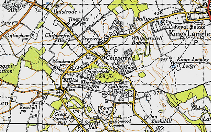 Old map of Chipperfield in 1946
