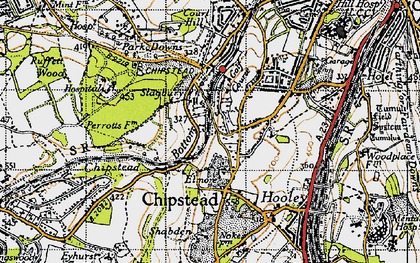 Old map of Banstead Wood in 1945