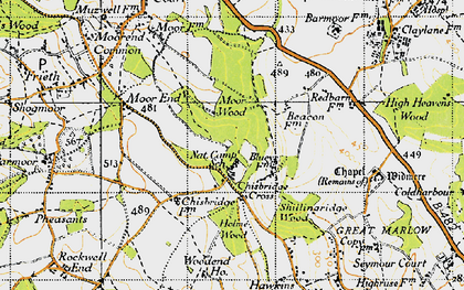 Old map of Chisbridge Cross in 1947