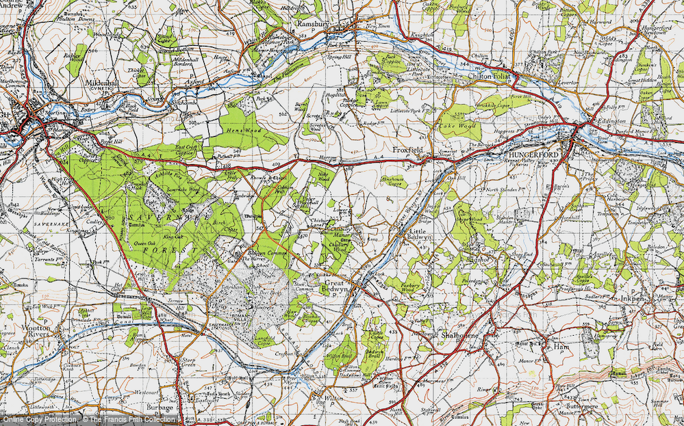 Old Map of Historic Map covering Almshouse Copse in 1940