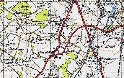 Old map of Chiswell Green in 1946