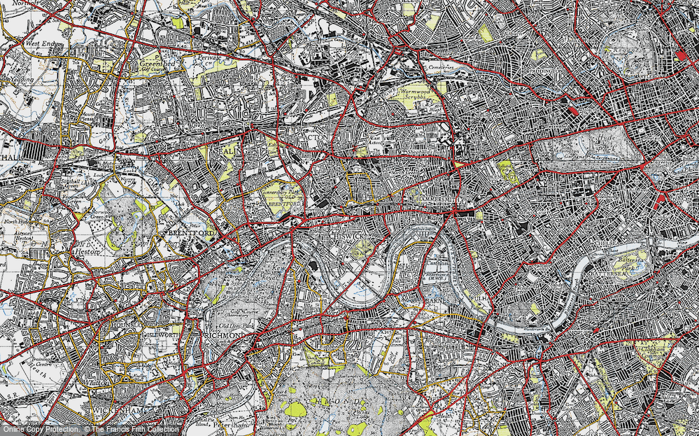 Old Map of Chiswick, 1945 in 1945