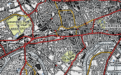 Old map of Chiswick in 1945