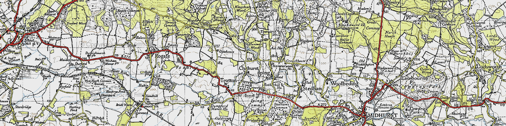Old map of Chithurst in 1945