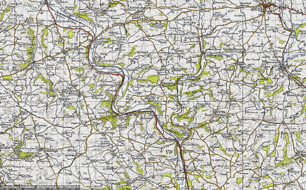 Old Map of Historic Map covering Abbot's Marsh in 1946