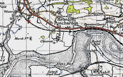 Old map of Allen's Rock in 1946