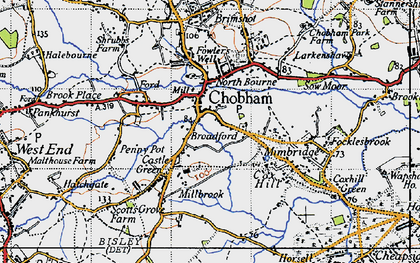 Old map of Chobham in 1940