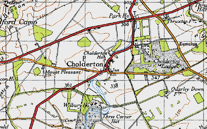 Old map of Cholderton in 1940