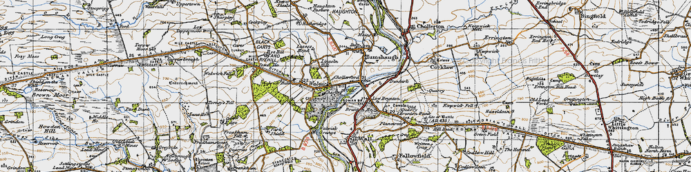 Old map of Chollerford in 1947