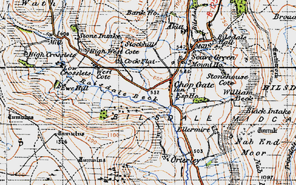 Old map of Barker's Crags in 1947
