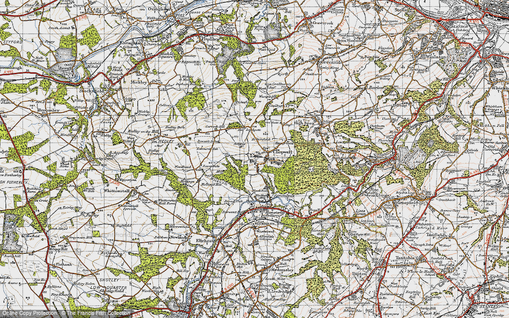 Old Map of Historic Map covering Ashtree in 1947