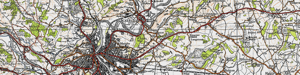 Old map of Christchurch in 1946
