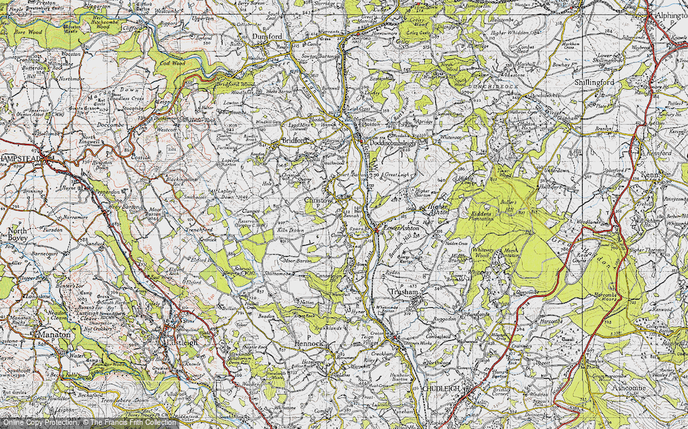 Old Map of Christow, 1946 in 1946