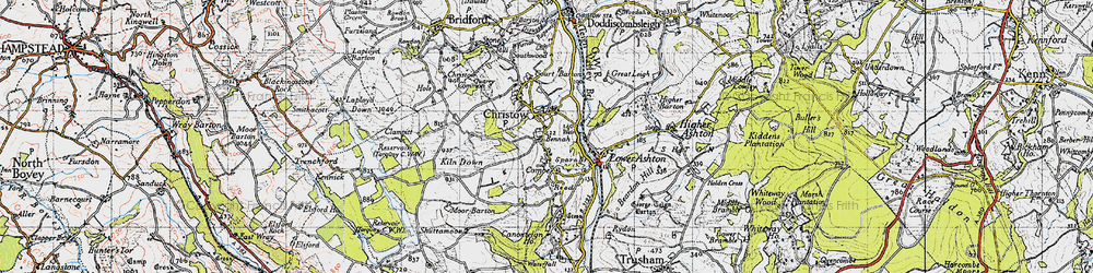 Old map of Christow in 1946