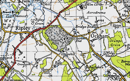 Old map of Church End in 1940