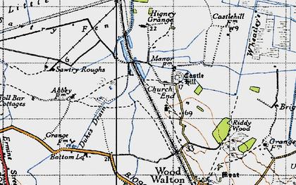 Old map of Woodwalton Fen in 1946